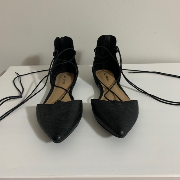 Call It Spring Black Ankle Wrap Flat Shoe